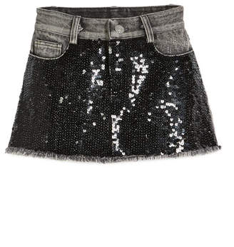 Flowers by Zoe Sequin-Front Denim Skirt, Size S-XL
