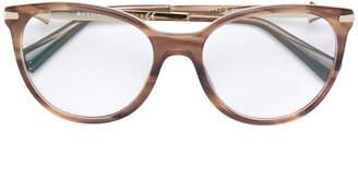 Bulgari wood effect round glasses