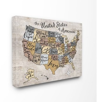 The Kids Room by Stupell United States Map Typography Art Oversized Stretched Canvas Wall Art, 24 x 1.5 x 30