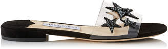 Jimmy Choo JONI FLAT Clear Plexi Star Patchwork Slides with Black Mix Crystals