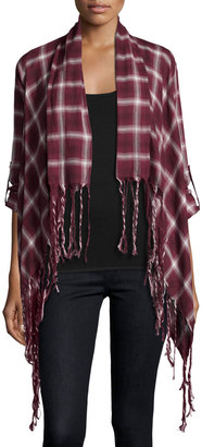 Bobeau Plaid Third Piece Fringed Open-Front Cardigan, Burgundy $39 thestylecure.com