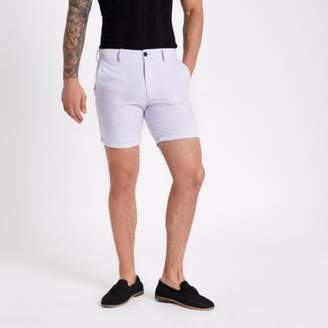 River Island Purple slim fit Oxford chino shorts