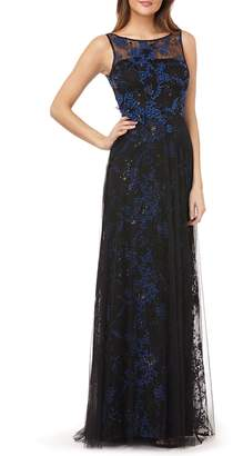 Carmen Marc Valvo Sequin Threadwork Gown