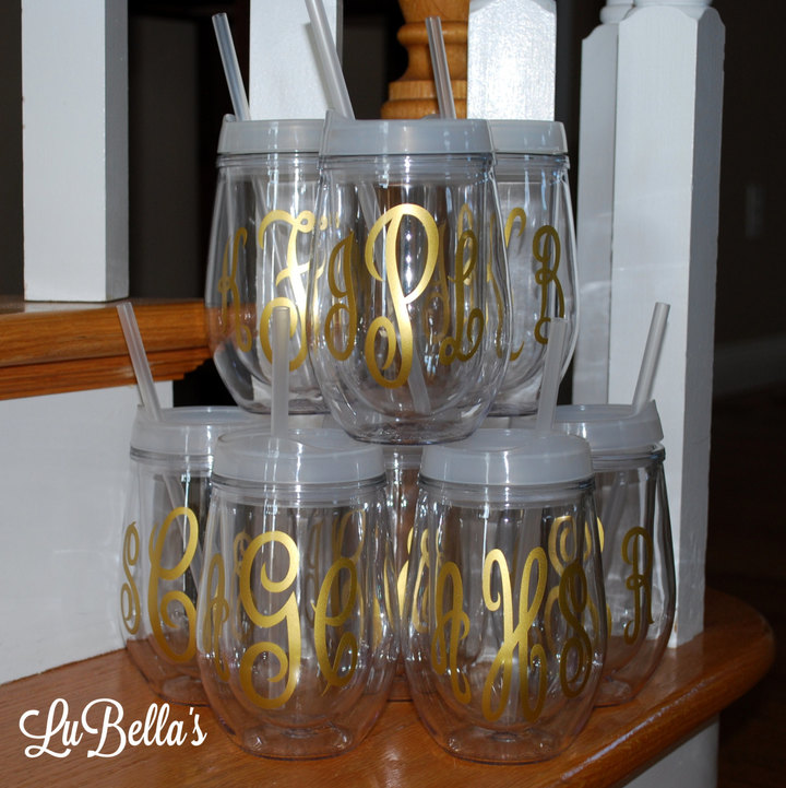 Etsy Monogrammed Bev 2 Go cup-Personalized Stemless Wineglass-Bridal Party Cups