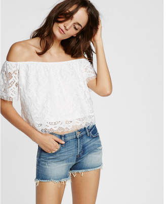 Express Lace Off The Shoulder Tee $49.90 thestylecure.com