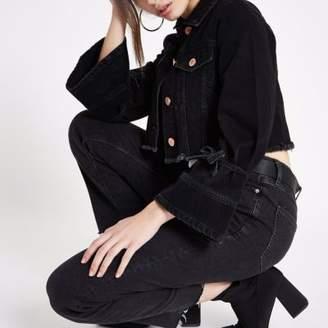 River Island Womens Black distressed cropped denim jacket