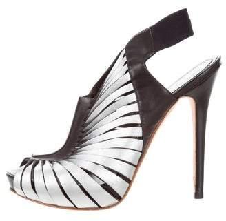 Alexander McQueen Metallic Slingback Sandals