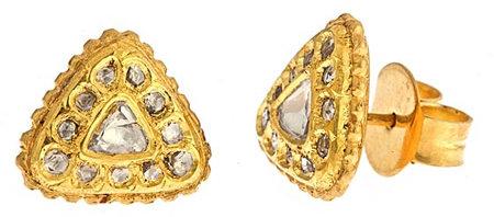 Divya Diamond Triangle Stud Earrings