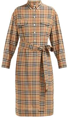 Burberry House Check Silk Shirtdress - Womens - Beige Multi