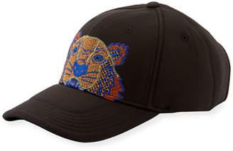 Kenzo Men's Rubberized Baseball Cap w/ Tiger Embroidery