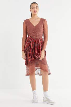 Urban Outfitters Lace Ruched Long Sleeve Midi Dress