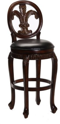 Hillsdale Furniture Fleur De Lis Triple Leaf Bar Stool with Leather Seat, Distressed Cherry Finish with Cooper Highlights