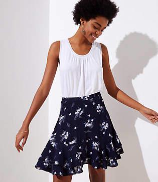 LOFT Petite Wild Bouquet Flounce Skirt