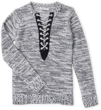 Pinc Premium Girls 7-16) Lace-Up Back Melange Sweater
