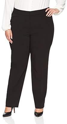 Lark & Ro Women's Plus Size Straight Leg Trouser Pant: Classic Fit