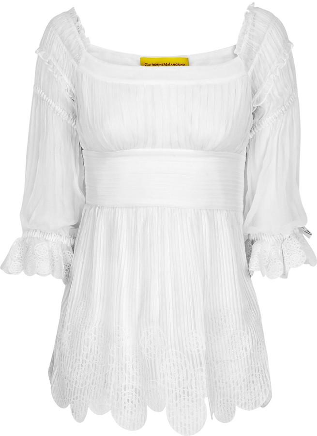 Catherine Malandrino Silk-chiffon peasant blouse