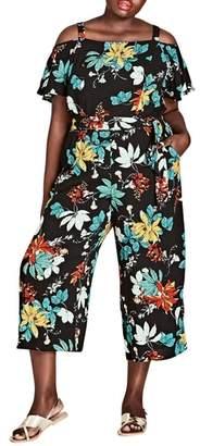 City Chic Tropical Print Cold Shoulder Jumpsuit