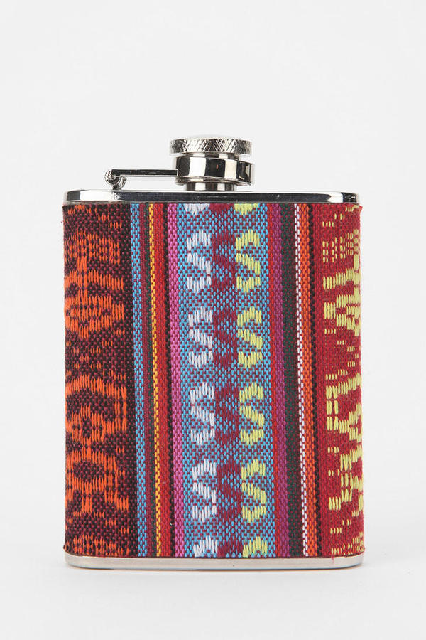 Urban Outfitters Printed Fabric Wrapped Flask