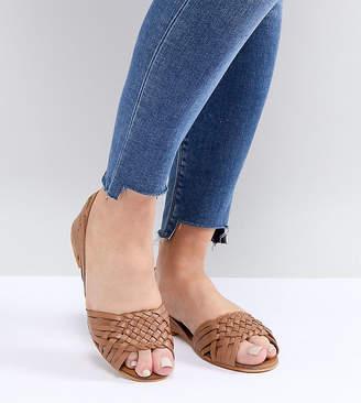 Asos Design Juna Wide Fit Leather Summer Shoes