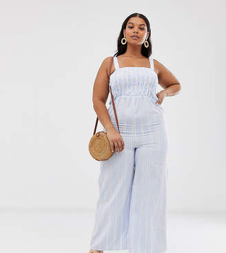 Wild Honey Plus jumpsuit with shirred bodice in stripe
