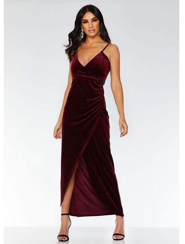 Towie Wine Velvet Wrap Dress
