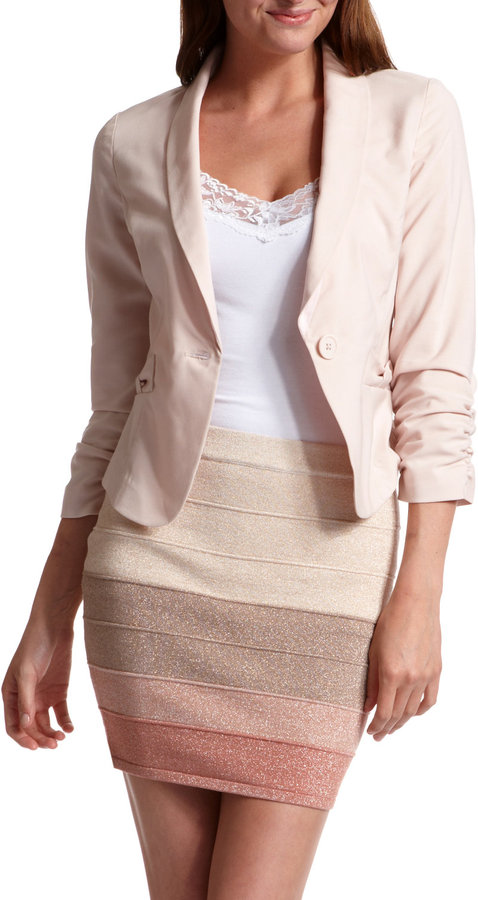 Bow-Pocket Knit Blazer