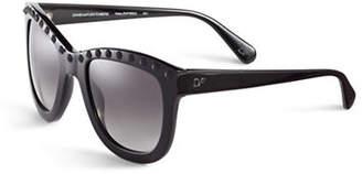 Diane von Furstenberg Studded Round Sunglasses