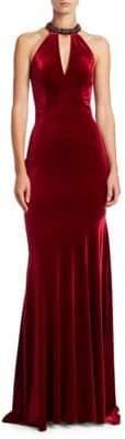 Theia Velvet Halter Gown