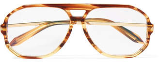Victoria Beckham Aviator-style Acetate And Gold-tone Optical Glasses - Tortoiseshell