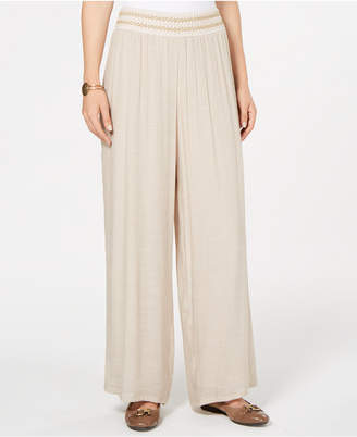 JM Collection Metallic-Detail Wide-Leg Pants, Created for Macy's