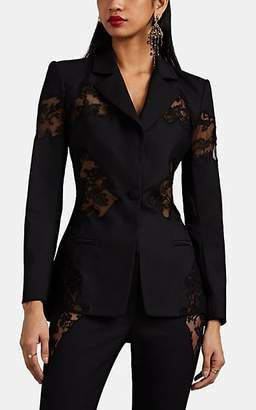 Altuzarra Women's Acacia Lace-Inset Wool One-Button Blazer - Black