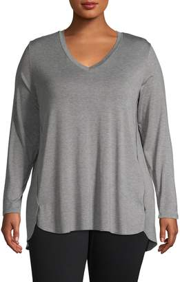 Lord & Taylor Plus Easy Long-Sleeve V-Neck Tee