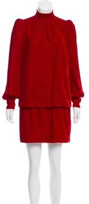 Marc Jacobs Long Sleeve Velvet Mini Dress