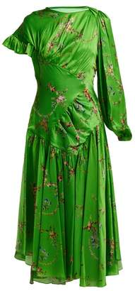 Preen by Thornton Bregazzi Geri Floral Print Asymmetric Satin Dress - Womens - Green Multi