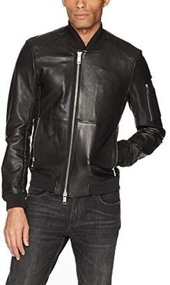 Armani Exchange A|X Men's Leather with Stitching and Sleeve Pocket