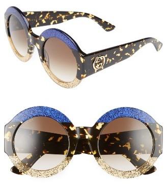 Women's Gucci 51Mm Round Sunglasses - Blue Havana/ Brown $540 thestylecure.com