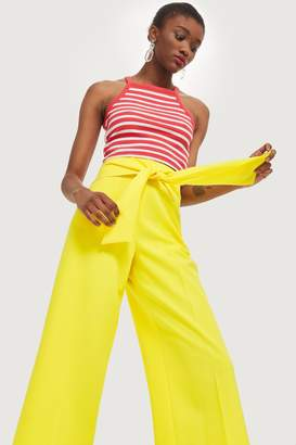 Topshop Womens Tie Waist Bonded Culottes - Yellow