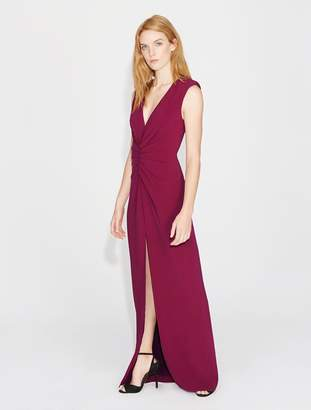 Halston Ruched Front Crepe Gown