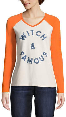 ST. JOHN'S BAY Long Sleeve V Neck Holiday T-Shirt-Womens