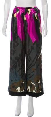 Dries Van Noten High-Rise Satin Floral Pants w/ Tags Pink High-Rise Satin Floral Pants w/ Tags