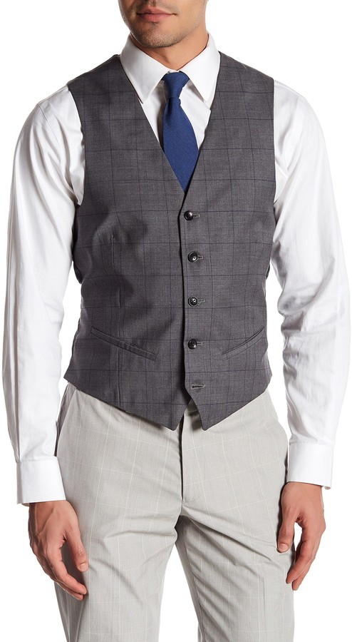 BonobosBonobos Foundation Grey Windowpane Five Button Wool Vest