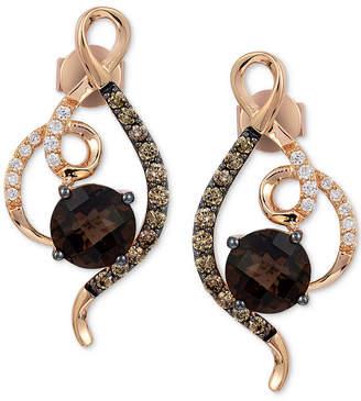 LeVian Le Vian Chocolatier Chocolate Quartz (1-1/2 ct. t.w.) & Diamond (1/3 ct. t.w.) Drop Earrings in 14k Rose Gold