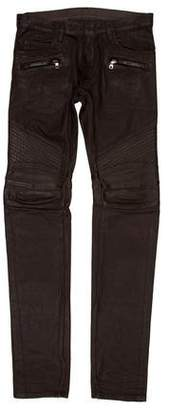 Balmain Leather Accented Moto Jeans w/ Tags