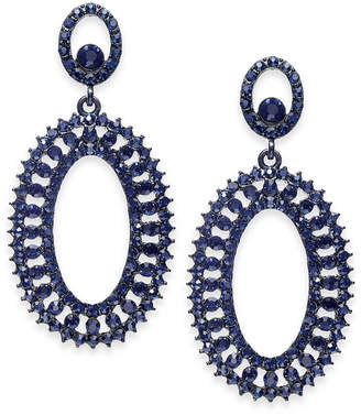 INC International Concepts I.N.C. Jet-Tone & Blue Crystal Circle Drop Earrings, Created for Macy's