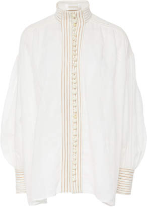 Zimmermann Corsage Embroidered Linen Top
