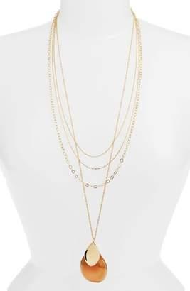Halogen Convertible Painted Petal Pendant Necklace