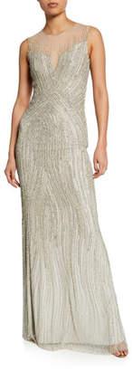 Jenny Packham Sleeveless Sequined Gown