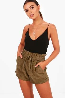 boohoo Petite Paperbag Waist Cord Short
