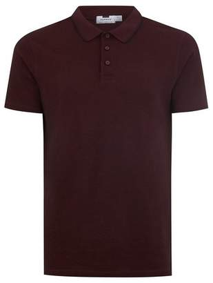 Topman Mens Burgundy Tipped Muscle Fit Polo