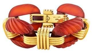 David Webb 18K Chalcedony Link Bracelet